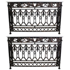 Pair of French, 19th Century Baroque Style Wrought Iron Wall Console Tables