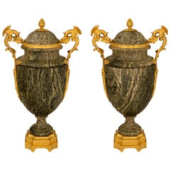 Pair of French 19th Century Belle Époque Period Marble and Ormolu Urns