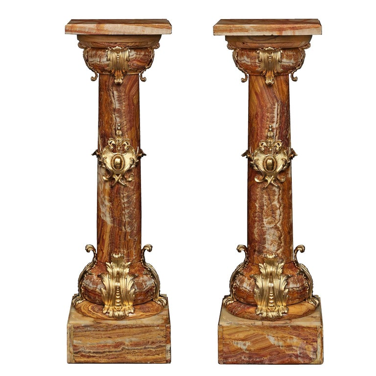 Pair of French 19th Century Belle Époque Period Onyx and Ormolu Pedestals For Sale