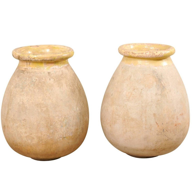 Pair of French 19th Century Biot Terracotta Pale Yellow Glazed Olive Jars