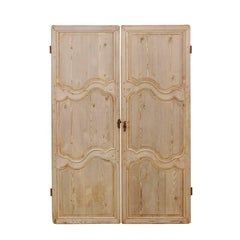 Pair of French 19th Century Bleached Wood Doors with Nice Scalloped Carvings