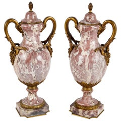 Pair of French 19th Century Breccia Marble Vases