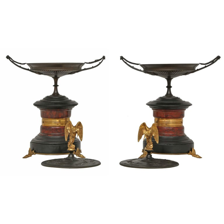 Pair of French 19th Century, Bronze, Marble and Ormolu Tazzas, with Lids For Sale 1
