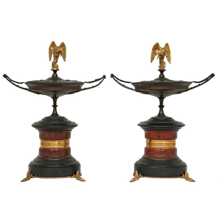 Pair of French 19th Century, Bronze, Marble and Ormolu Tazzas, with Lids For Sale