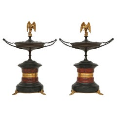Pair of French 19th Century, Bronze, Marble and Ormolu Tazzas, with Lids