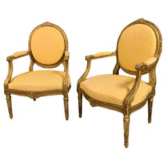 Pair of French 19th Century Carved Giltwood Fauteuil Armchairs