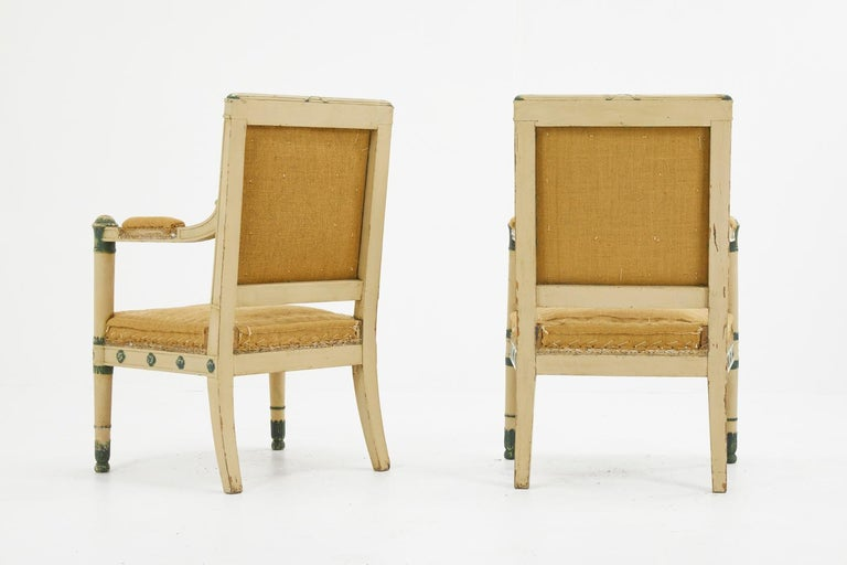 Hand-Painted Pair of French 19th Century Carved Wood Painted Chairs For Sale