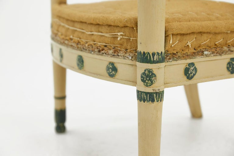 Early 19th Century Pair of French 19th Century Carved Wood Painted Chairs For Sale