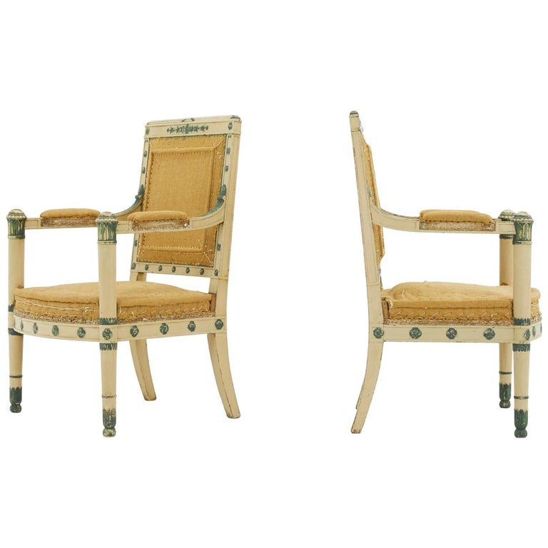 Pair of French 19th Century Carved Wood Painted Chairs For Sale