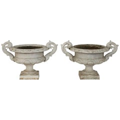 Pair of French 19th Century Cast Iron Garden Urns or Vases