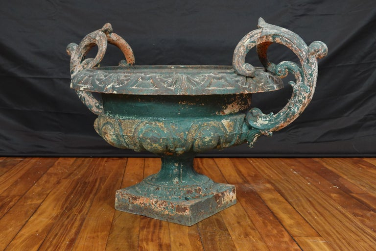 Pair of French 19th Century Cast Iron Garden Urns with Handles For Sale 10