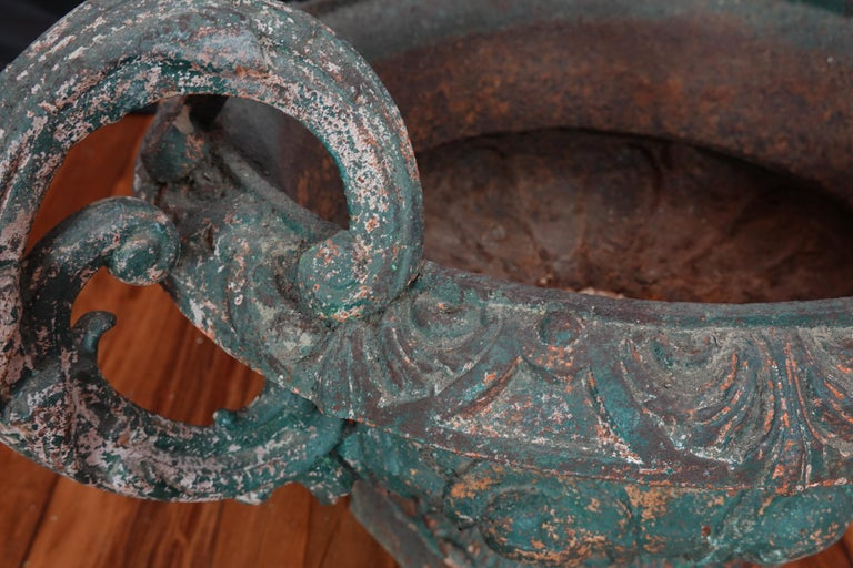 Pair of French 19th Century Cast Iron Garden Urns with Handles For Sale 11