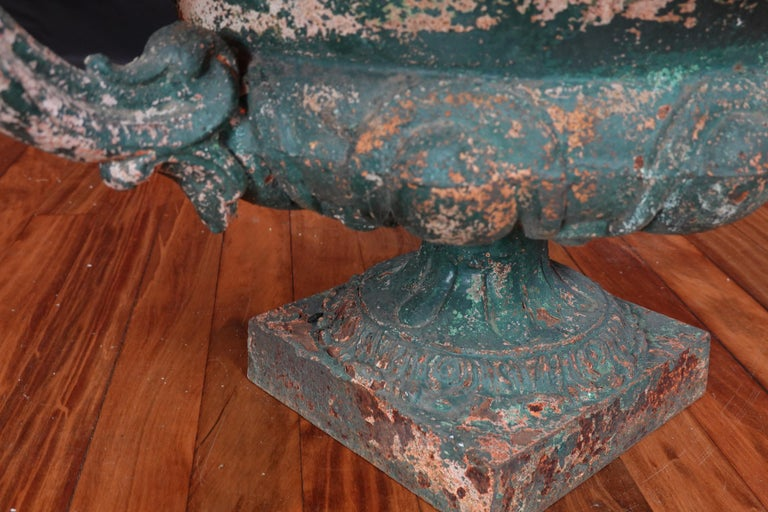 Pair of French 19th Century Cast Iron Garden Urns with Handles For Sale 14