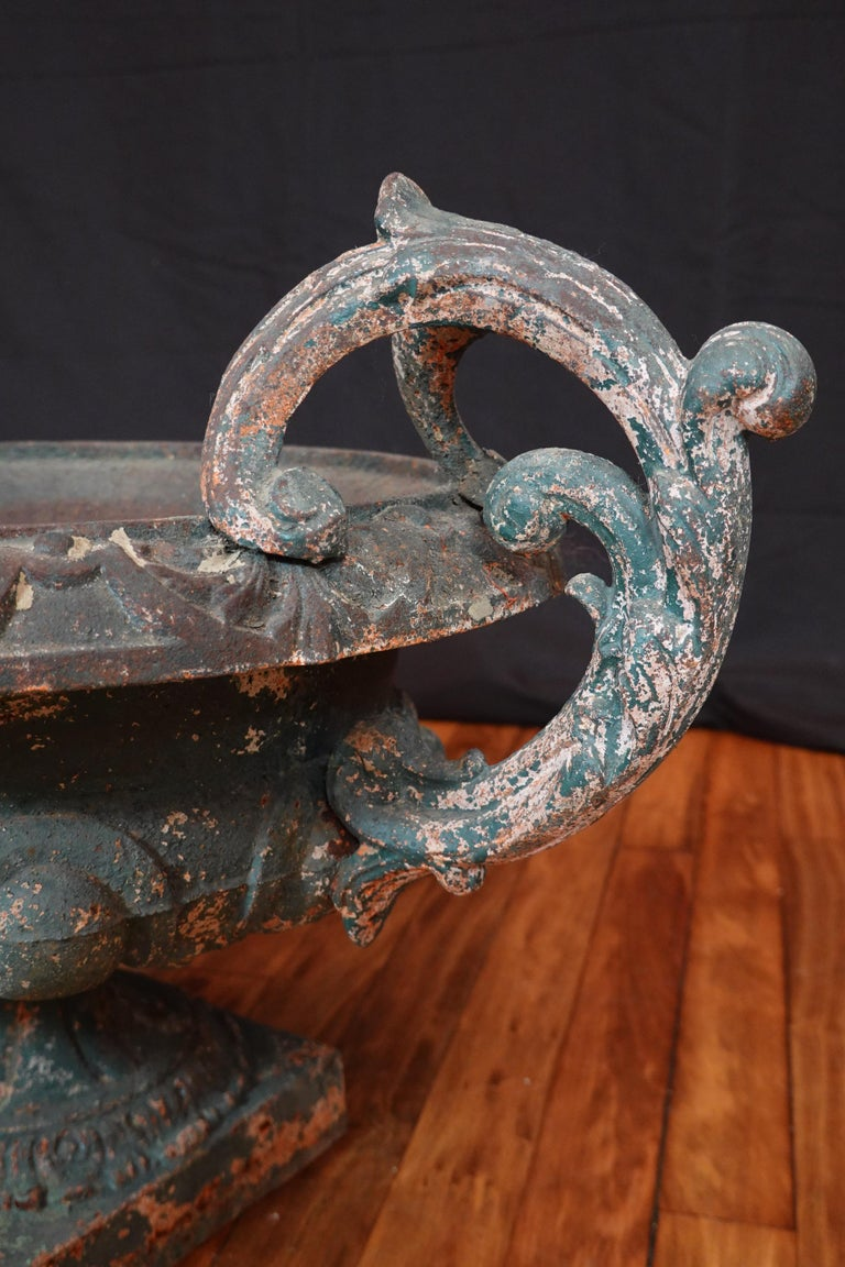 Pair of French 19th Century Cast Iron Garden Urns with Handles For Sale 16