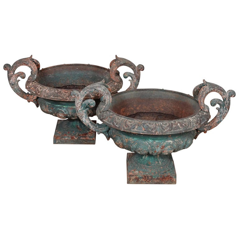 Pair of French 19th Century Cast Iron Garden Urns with Handles For Sale