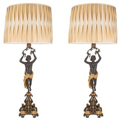 Pair Of French 19th Century Charles X St. Patinated Bronze and Ormolu Lamps