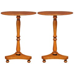 Pair of French 19th Century Charles X Style Yew Wood Side Tables
