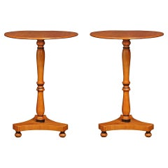 Pair of French 19th Century Charles X St. Yew Wood Side Tables