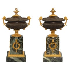 Pair of French 19th Century Charles X Style Bronze and Marble Pot Pourri Urns