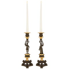 Pair of French 19th Century Charles X Style Bronze and Ormolu Candlesticks