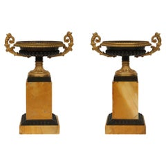 Pair of French 19th Century Charles X Style Marble, Ormolu and Bronze Tazzas