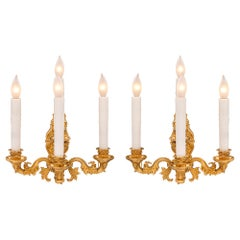 Pair of French 19th Century Charles X Style Ormolu Sconces