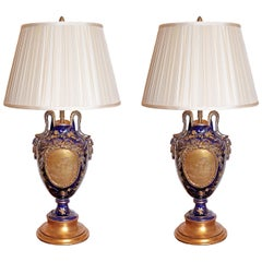 Pair of French 19th Century Choisy Le Roy Porcelain Urn Lamps