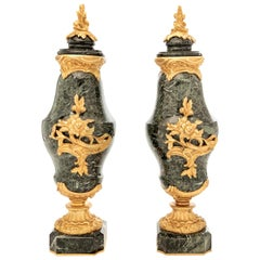 Pair of French 19th Century Classical Marble and Gilt Bronze Urns