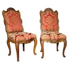 Pair of French 19th Century Dark Oak Louis XV St. Chairs