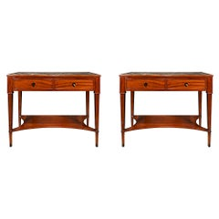 Pair of French 19th Century Directoire St. Mahogany Consoles