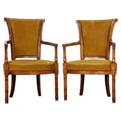 Pair of French 19th Century Directoire Style Upholstered Fauteuils