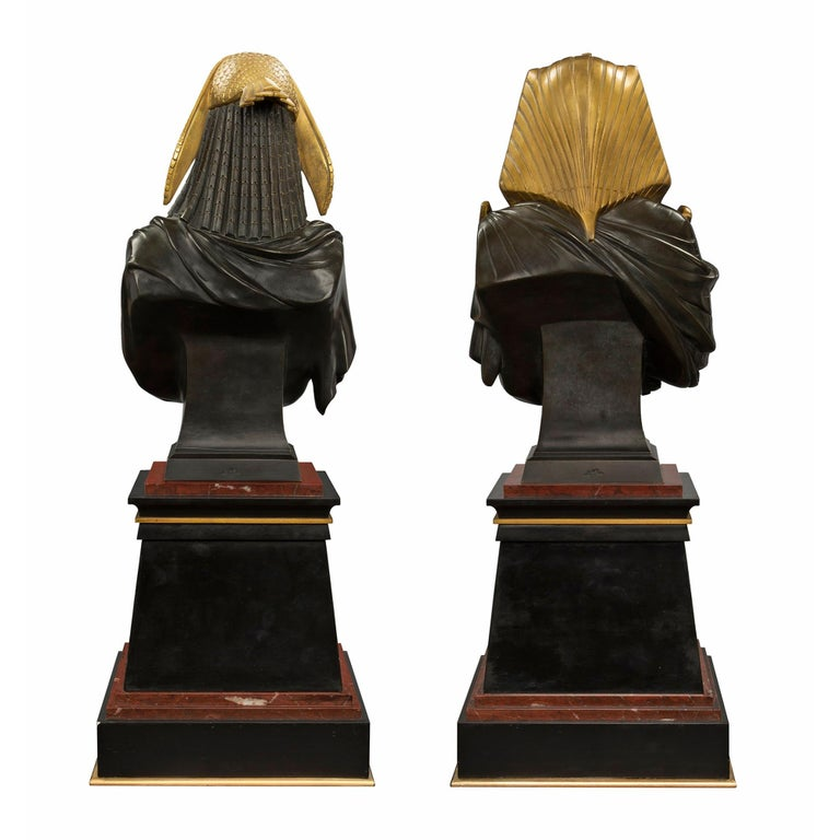 Pair of French 19th Century Egyptian Revival Bust of Ramses & Isis by Hébert In Excellent Condition For Sale In West Palm Beach, FL