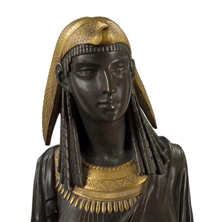 Bronze Pair of French 19th Century Egyptian Revival Bust of Ramses & Isis by Hébert For Sale