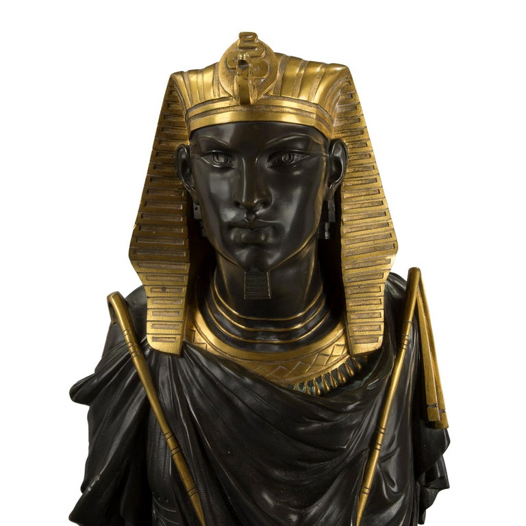 Pair of French 19th Century Egyptian Revival Bust of Ramses & Isis by Hébert For Sale 1