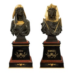 Pair of French 19th Century Egyptian Revival Bust of Ramses & Isis by Hébert