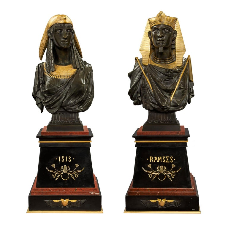 Pair of French 19th Century Egyptian Revival Bust of Ramses & Isis by Hébert For Sale