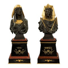 Pair of French 19th Century Egyptian Revival St. Busts of Ramses and Isis