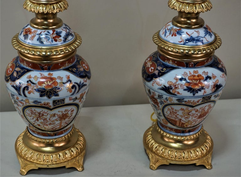 Pair of French 19th Century Electrified Porcelain Oil Lamp For Sale 5