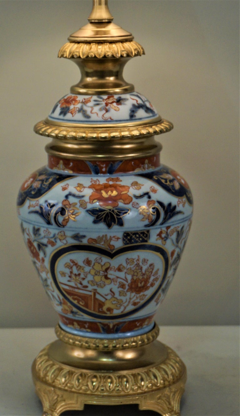 Gilt Pair of French 19th Century Electrified Porcelain Oil Lamp For Sale