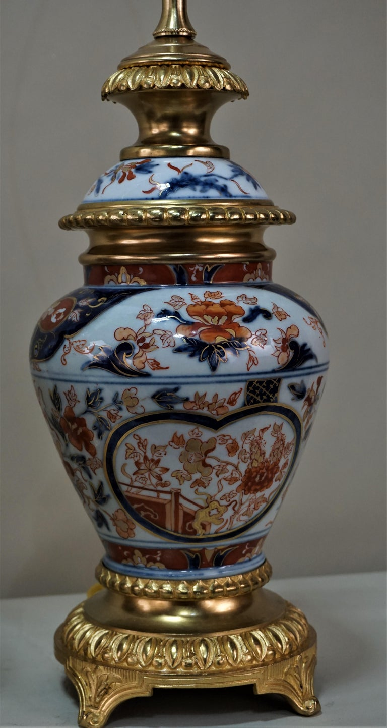 Pair of French 19th Century Electrified Porcelain Oil Lamp For Sale 3