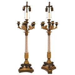 Pair of French 19th Century Empire Cut Glass and Bronze Candelabras / Lamps
