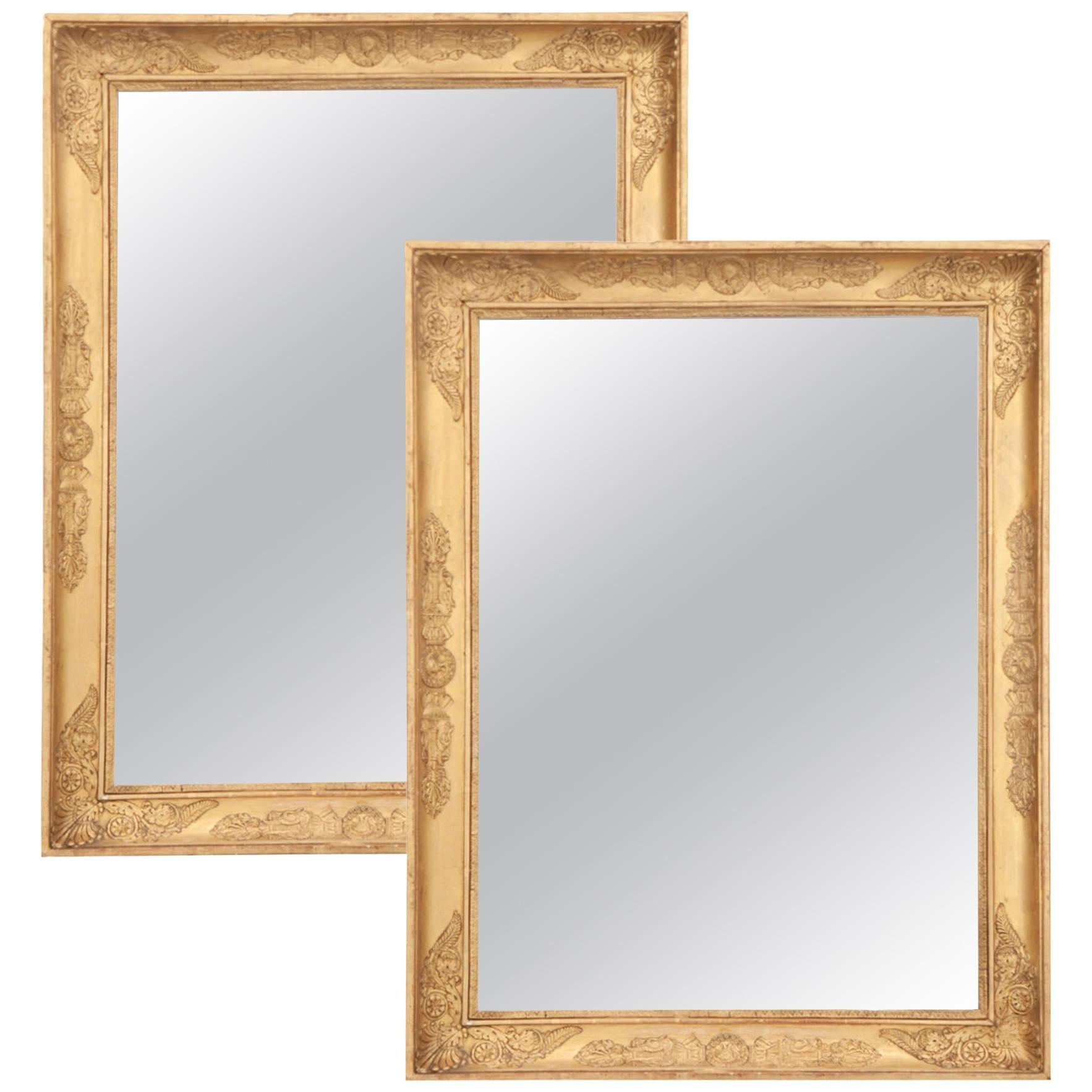 Pair of French 19th Century Empire Gold Gilt Mirrors