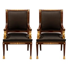 Pair of French 19th Century Empire St. Belle Époque Period Armchairs
