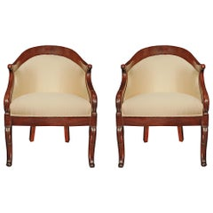 Pair of French 19th Century Empire St. 'D' Shaped Mahogany Bergère