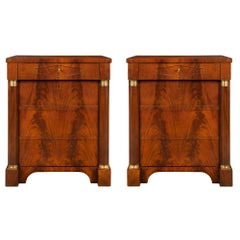 Pair of French 19th Century Empire St. Mahogany and Ormolu Chest