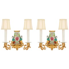 Pair of French 19th Century Famille Rose Porcelain and Ormolu Sconces