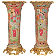 Pair of French 19th Century Famille Rose Porcelain Elongated Vases
