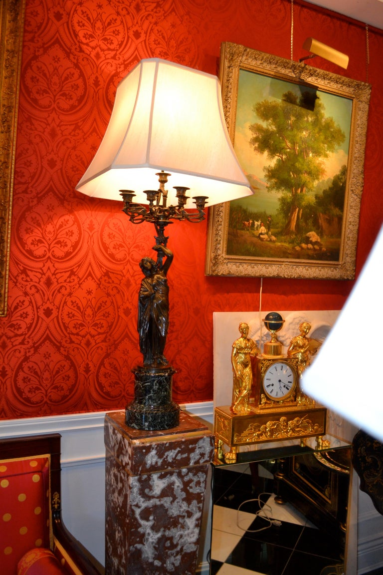 Pair of French 19th Century Figurative Patinated Bronze Candelabra Lamps For Sale 15