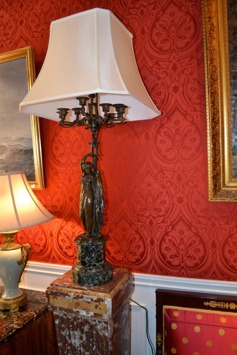 Pair of French 19th Century Figurative Patinated Bronze Candelabra Lamps For Sale 16
