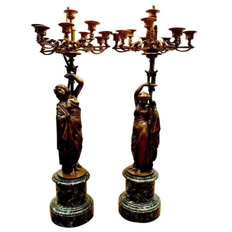 Neoclassical Pair of French 19th Century Figurative Patinated Bronze Candelabra Lamps For Sale